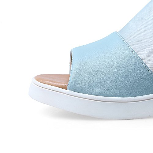 Materiali Allhqfashion Toe Heels Women's Low Zipper Zeppe Open Blu sandali Solido Blend 1F1qU