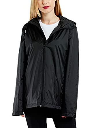 GG Golooper Womens Rain Jacket Lightweight Waterproof Hooded Raincoat - Black - Medium