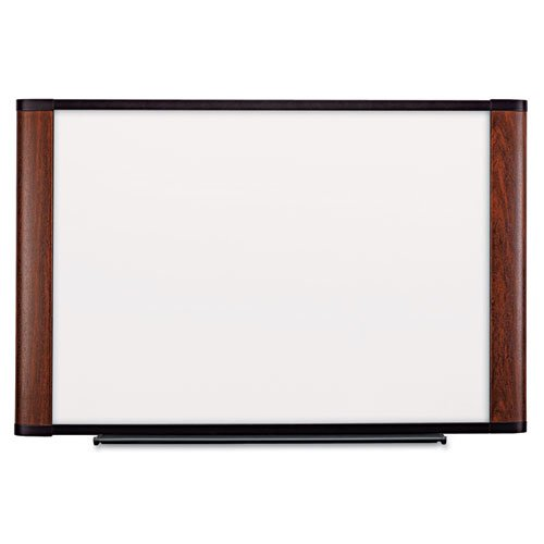 3M - Melamine Dry Erase Board, 72 x 48, Mahogany Frame