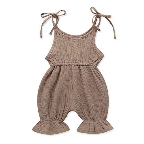 Baby Girl Sleeveless Strap Linen Solid Romper Bell Bottom Sunsuit Newborn Jumpsuit Infant Bodysuit Khaki/110