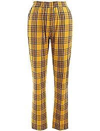 2e5826d160e4 Women Casual Tartan Straight Leg Elastic High Waist Pants with Pockets