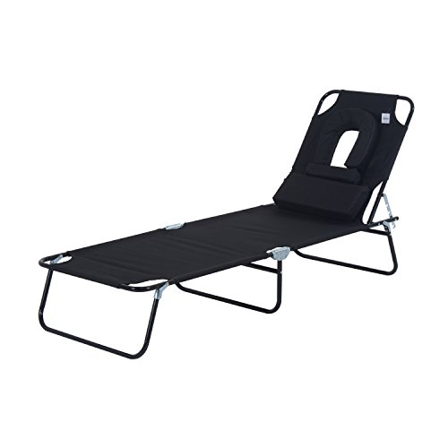 Outsunny Sun Lounger Foldable Reclining Chair with Pillow and Reading Hole Garden Beach Outdoor Recliner Adjustable (Black)