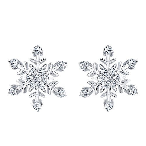 Womens Fashion Beautiful White CZ Diamond Snowflake Earrings 14K White Gold Over .925 Sterling Silver