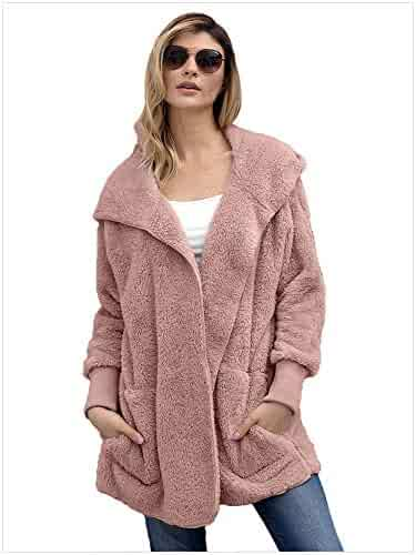 d1b5a59f73 WNSFCOLY Women s Fashion Long Sleeve Faux Shearling Shaggy Oversized Coat  Hooded Jacket Fall Outfit with Pocket