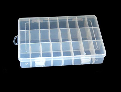 YJYdada Storage Case Box Holder Container Pills Jewelry Tips 24 Grids with Lid