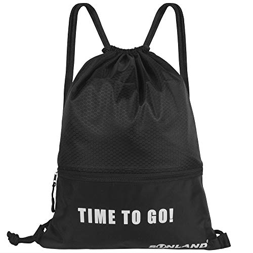 SUNLAND Waterproof Drawstring Backpack Sport Beach Gym Bag with a Front Zipper Pouch for Women Men Children (17inch x 13inch Black)
