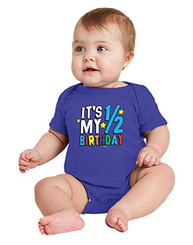 HAASE UNLIMITED It's My 1/2 Birthday - Half 6 Months Old Bodysuit (Royal Blue, 18 Months)