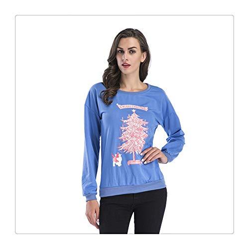 Blue Stampa A Con T Lunghe Da Di New Lan Maniche Albero Natale Hu Shuo Wai shirt Donna wa1fxq