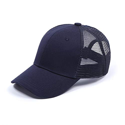 (Lloopyting Wide Brim Breathable Baseball Hat Women Men Sport Hat Dark for Outdoor Jogging UV Protection Navy)