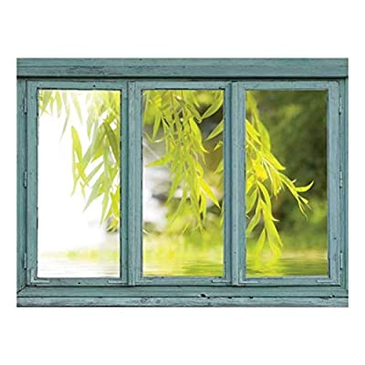Vintage Teal Window Looking Out Into a Tree That Frames a Lake - Wall Mural, Removable Sticker, Home Decor - 36x48 inches