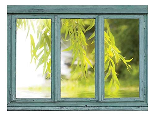 Vintage Teal Window Looking Out Into a Tree That Frames a Lake Wall Mural