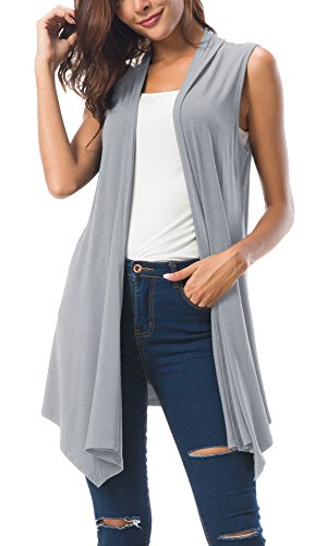 leeveless Draped Open Front Cardigan Vest Asymmetric Hem (L, Light Grey) ()