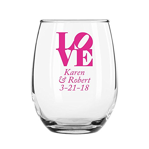 48 Pack Personalized Color Printed 15 Ounce Stemless Wine Glass - LOVE - Fuchsia by All Gifts