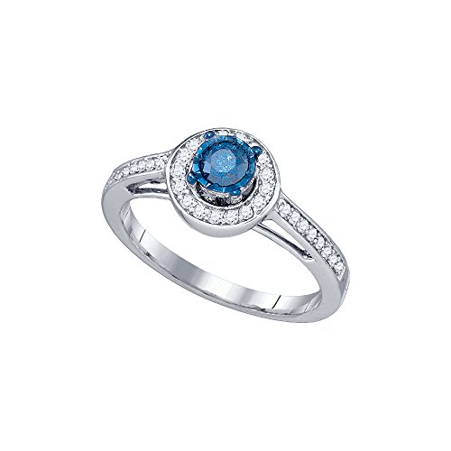 10kt White Gold Womens Round Blue Colored Diamond Solitaire Bridal Wedding Engagement Ring 3/8 Cttw