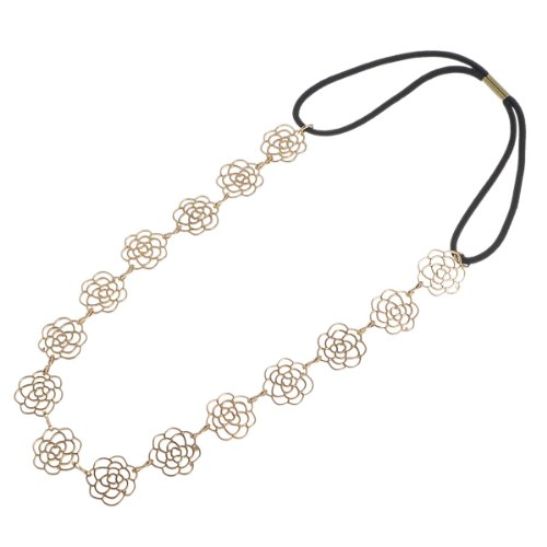 HOUSWEETY Lovely Metallic Sweet Lady Hollow Rose Flower Elastic Hair Band Fashion Headband