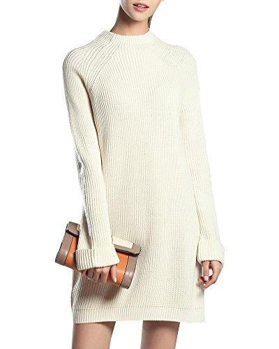 Bianco Basic Donna Maglione Lunga Abito Sweater Knit Del Da Manica ASq6wSxzd