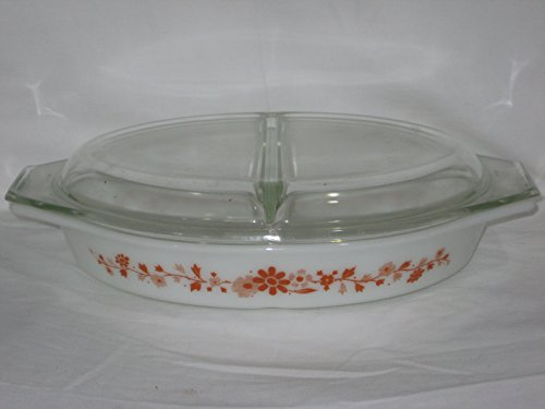 2 Piece Set - Vintage 1965 Pyrex Floral Promotional 1 1/2 Quart Divided Oval Cinderella Casserole Baking Dish w/ Lid USA