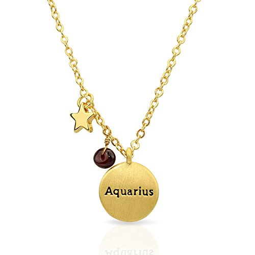 Miraclelove Gold Plated Brass Zodiac Charm Handmade Gemstone Pendant Necklace, 18