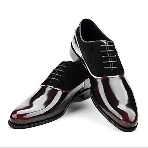 Mens Leder Freizeit Sehnen Schuhe Dress Herbst Business Hochzeit Schnüren Rutschen Schwarz Rot