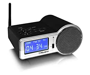 aluratek airmm01f internet radio alarm clock with built in wifi black. Black Bedroom Furniture Sets. Home Design Ideas