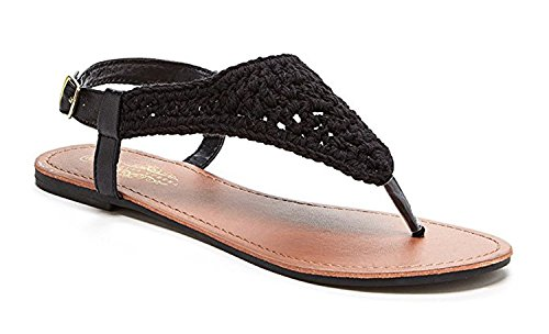 Orly Shoes Women's Bali Crochet Upper Sandal Flat Braided with Adjustable Ankle in Black Size: 10