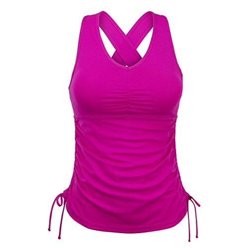 UV SKINZ UPF 50+ Women's Ruched Tank Top - Hot Pink - L (Hot Pink Tankini)