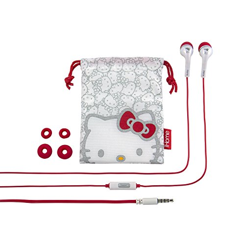 iHome Hello Kitty Noise Isolating Earbuds with in Line Microphone and Protective Pouch (Si-M15HY.FXV6)