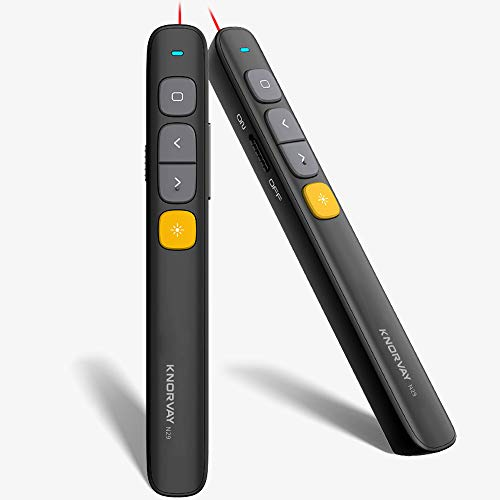 【 New 】 KNORVAY N29 Wireless Presenter, Hyperlink Volume Control Presenter RF 2.4GHz PowerPoint Clicker Presentation Remote with Laser Pointer...