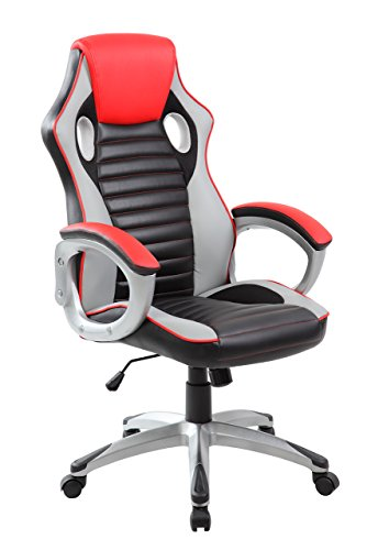 Anji Modern Furniture High Back Ergonomic Racing Style PC Gaming Executive Swivel PU Leather Office Chair, Black/Red
