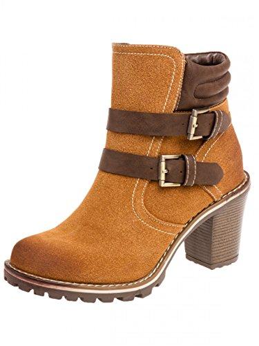 CASPAR Fashion - Botas de ante para mujer Marrón - camel