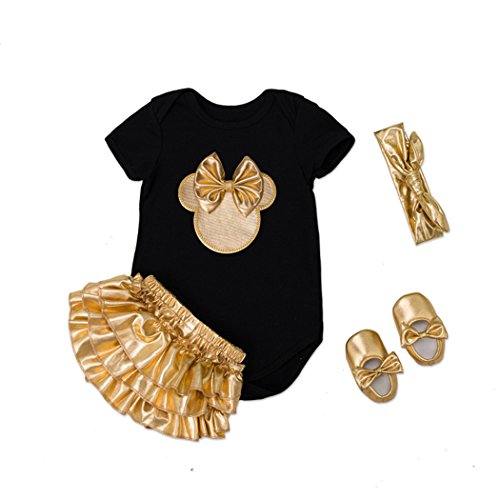 belababy 12 Months Girls Decal Gold Romper Set for Photo Shoot -
