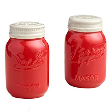 Red Ceramic Mason Jar Salt and Pepper Shaker