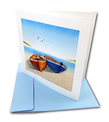 "Two Boats Quilling Greeting Card, 6x6"" with Envelope. Any Occasion. Blank Inside. Hand-made. Suitable for Framing."