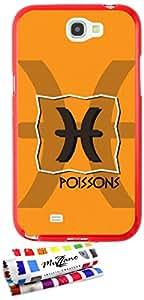 Carcasa Flexible Ultra-Slim SAMSUNG GALAXY NOTE 2 de exclusivo motivo [Zodiaque - poissons] [Roja] de MUZZANO  + ESTILETE y PAÑO MUZZANO REGALADOS - La Protección Antigolpes ULTIMA, ELEGANTE Y DURADERA para su SAMSUNG GALAXY NOTE 2