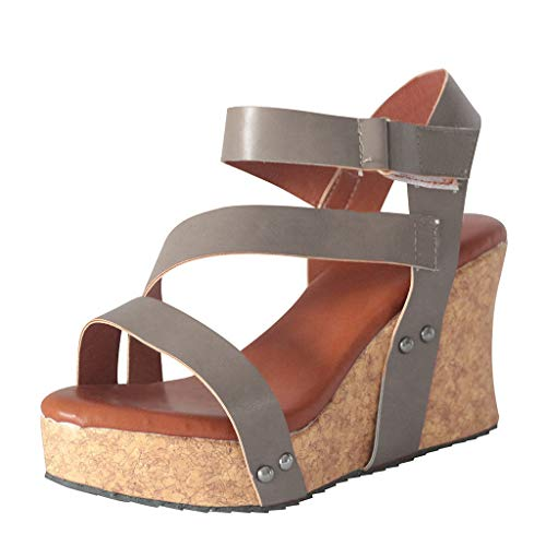 (Auniemifly Women's Retro Platform Studded Open Toe Roman Sandals Solid Color Striped Hook & Loop Wedges Gray)