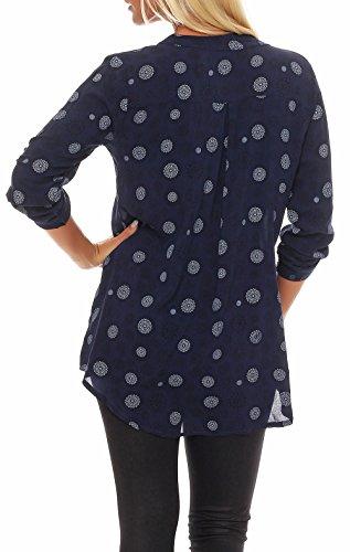 Tunique Femme 6703 fashion Blouse Fonc Oversize Taille avec than Loose Haut Unique malito Bleu more Malito 4 V Neck 3 vxEqCCZ6