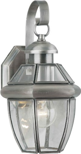 (Forte Lighting 1101-01-34  Exterior Wall Light with Clear Beveled Glass  Shades, Antique Pewter)