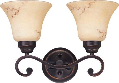 2 Light - Vanity - Fixture - Honey Marble Glass