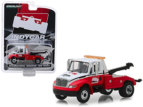(International Durastar Tow Truck White and Red IndyCar Series Hobby Exclusive 1/64 Diecast Model by Greenlight 30032)