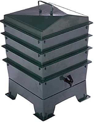Deluxe WORMERY KIT, 4 x Bandeja apilable, Composter, Gusano Treats ...