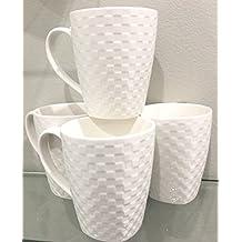 Roscher Fine Porcelain Dinnerware | Classic Basket Weave Pattern | Set of 4 Mugs | Bright  sc 1 st  Amazon.com & Amazon.com: Roscher