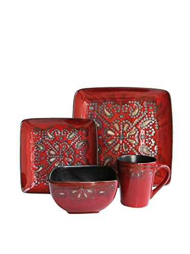 Marquee 16-Piece Reactive Square Dinnerware Set, Red image