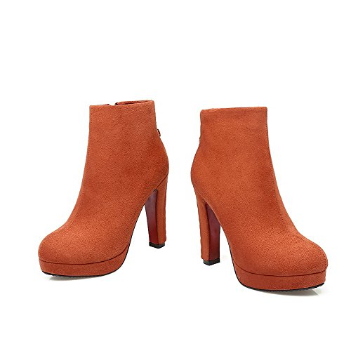 Heels High Yellow Toe High Closed Boots Solid Women's Round Ankle Allhqfashion xpqZ6Z