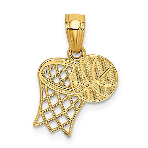 - Mireval 14k Yellow Gold Basketball and Hoop Pendant (11 x 18 mm)