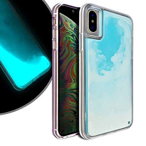 VenSen Liquid Fluorescent Case for Apple iPhone Xs/iPhone X Soft TPU Luxury Glow in The Darkness Noctiluncen Luminous Neon Sand case iPhoneX iPhoneXS (Blue, iPhone Xs/iPhone X)