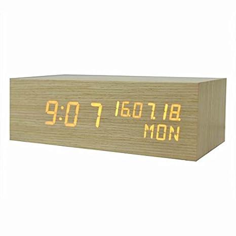 Cunclock Despertador de madera de madera de gran tamaño sobremesa LED Digital Relojes de mesa decoracion,amarillo: Amazon.es: Hogar