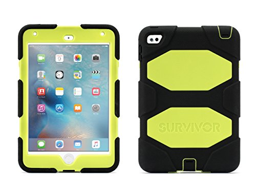 Griffin iPad Mini 4 Case with Stand, Black and Neon Yellow Survivor All-Terrain, [Rugged] [Protective] [Dual Layer] [Heavy Duty] [Shock Absorption] [Polycarbonate] [Silicone]