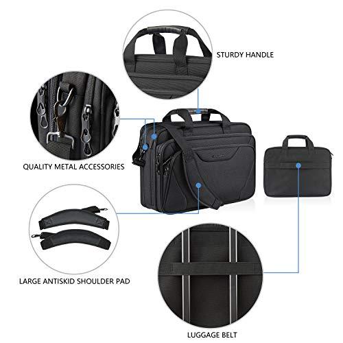 KROSER 18'' Laptop Bag Premium Laptop Briefcase Fits Up to 17.3 Inch Laptop Expandable Water-Repellent Shoulder Messenger Bag Computer Bag for Travel/Business/School/Men/Women-Black by KROSER (Image #4)