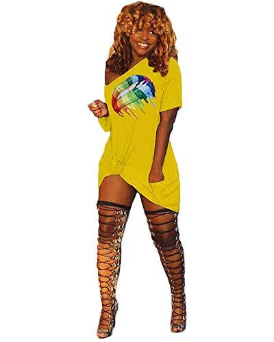 - Halfword Women's Short Sleeve T-Shirt Dress Off Shoulder Casual Lip Printed Midi Dresses Yellow