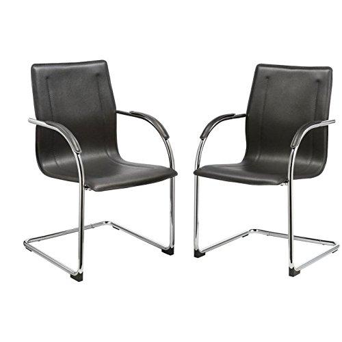 Duhome 0689 2x Konferenzstuhl Besucherstuhl Schwarz Freischwinger Beistellstuhl aus Kunstleder